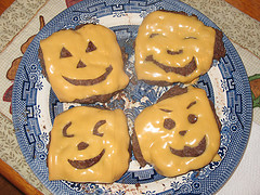 Jack-O-Lantern Cheeseburgers Halloween Recipe